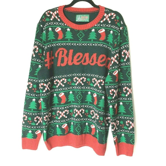 Ugly Christmas Sweater Mens XL #Blessed Holiday